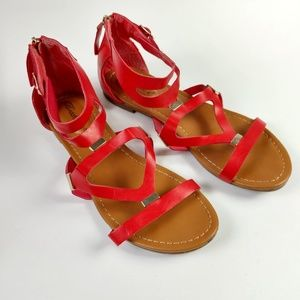 Women Breckelles Red Leatherette Strappy C